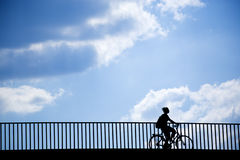 Female cyclist silhouette Stock Photography