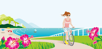 Female Cyclist in Summer Seaside nature. Vector Illustration stock illustration