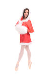 Female dancer in christmas dress Stock Images