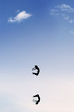 Female dancer dancing ballet on the sky Royalty Free Stock Images