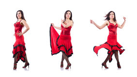 The female dancer dancing spanish dances Royalty Free Stock Photo