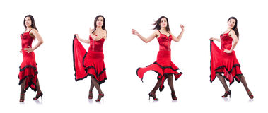The female dancer dancing spanish dances Royalty Free Stock Images