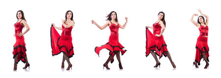 The female dancer dancing spanish dances Royalty Free Stock Photos
