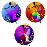 Female Dancer Figure Icons. A clip art illustration of 3 female figures draped in scarves dancing with long flowing hair positioned within circles and decorated Royalty Free Stock Image