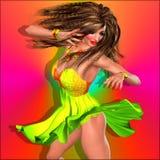 Female dancer, party girl, skirt. Stock Photos