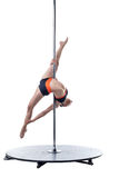 Female dancer performs difficult trick on pylon Royalty Free Stock Image