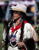 Female Dancer at the Pow Wow. Participant dancing Native American style at the Stillwater Pow Wow in Anderson, California royalty free stock photography