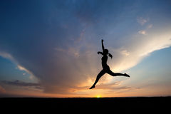 Female dancer in sunset Stock Photography
