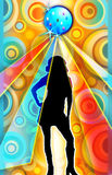 Female dancer under disco ball Illustration. A bright illustration of the silhouette of a female dancer standing under a disco ball and a bright, colorful Stock Image