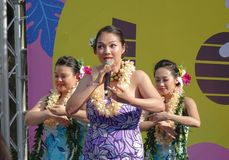 Female Dancers Perform a Hawaiian Dance Stock Photo