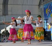 Female Dancers Perform a Hawaiian Dance Stock Image