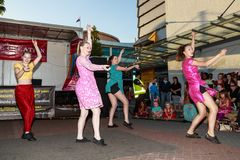 Female dancers performing in the street royalty free stock photos