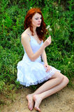 Female with dandelion Royalty Free Stock Photos