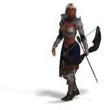 Female dark elf archer vector illustration