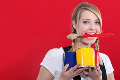 Female decorator Royalty Free Stock Photos