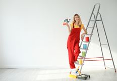 Female decorator with color palette. Indoors royalty free stock image