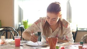 Female decorators make figurines. Craft workshop. Female decorators make figurines. Craft workshop stock video