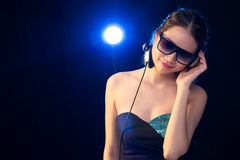 Female deejaying Stock Images