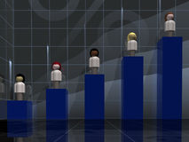 Female Demographic Chart. Front, perspective view of a 5 blue column, stair-stepped bar graph.  Each column has a female of a different race standing on top Stock Photo