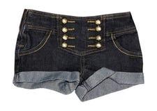 Female denim jeans shorts closeup isolated. Stock Photos