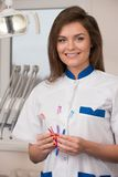 Female dentist at dentist's surgery Stock Images