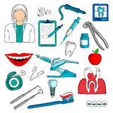 Female dentist with dentistry icons sketches Royalty Free Stock Image