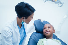 Female dentist examining boys teeth Stock Images