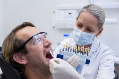 Female dentist examining male patient with teeth shades Royalty Free Stock Image