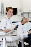A female dentist with a male patient Stock Images