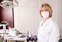 Female dentist with mask Stock Photo