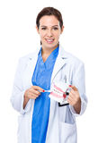 Female dentist present Stock Photos