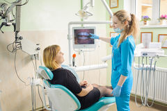 female dentist showing photograph of teeth on computer to patient Stock Image