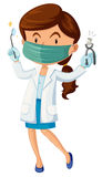 Female dentist with tooth and tools Royalty Free Stock Photos