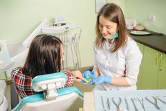 Female dentist working at dental clinic with female patien Royalty Free Stock Photos