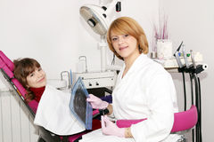 Female dentist with x-ray and little girl Royalty Free Stock Photos