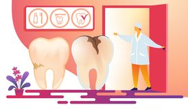 Female Dentistry Doctor Inviting Patient in Room. vector illustration