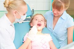 Female dentists examines a child Stock Image