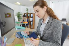 Female designer architect creative in workplace. Female designer architect creative in the workplace Stock Photos