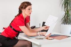 Female designer of interior. Royalty Free Stock Image