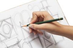 Female designer scribbling Stock Image