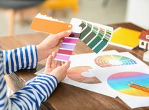 Female designer working with color palette samples. At table stock photo