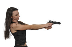 Female Detective with gun. Beautiful police detective woman on the job with a gun royalty free stock images