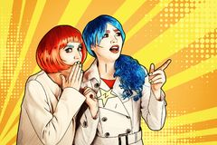 Female detectives investigate a crime. Young women in comic pop art make-up style royalty free stock images