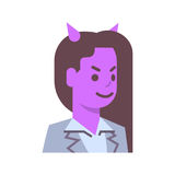 Female Devil Emotion Icon Isolated Avatar Woman Facial Expression Concept Face. Female Head With Nimbus Emotion Icon Isolated Avatar Woman Facial Expression Stock Photography