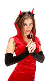 Female Devil with Glass of Red Wine Stock Images