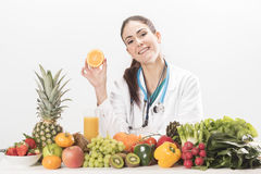 Female dietitian. On white background Stock Photos