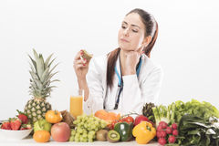 Female dietitian. On white background Stock Image