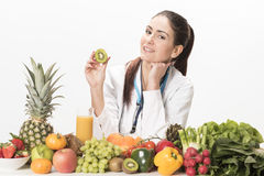 Female dietitian. On white background Stock Images