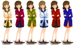 Female in different shades of a blazer Stock Images