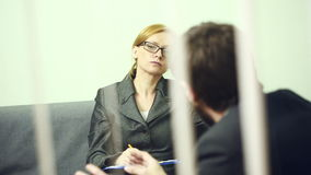 Female director talking with the employee. report to the Chief stock footage